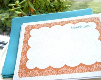 Lace Thank You Flat Notecard or Personalized Stationery and Sticker Gift Set
