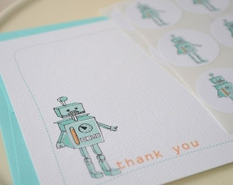 Robot Thank You Notes or Personalized Stationery and Sticker Gift Set Boy