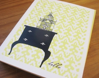 Birdcage on Vintage Dresser Personalized Stationery or Thank You cards and Sticker Gift Set