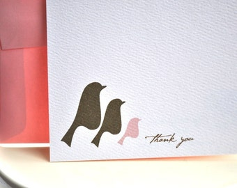 Family of Birds Thank You Card or Personalized Stationery Gift Set