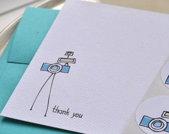 Camera Thank You Card or Personalized Stationery and Sticker Set