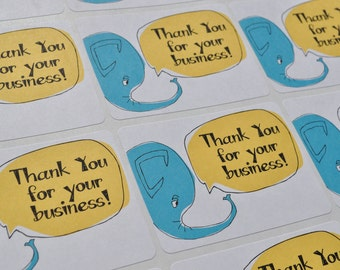 Thank You for Your Business Elephant Packaging Sticker Labels