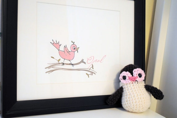 Pink Bird Personalized Art Print