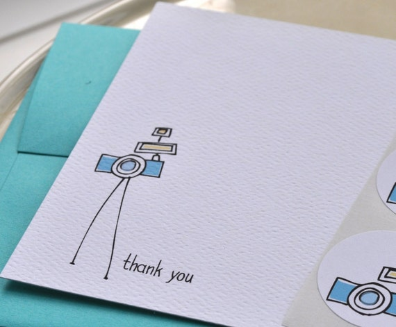 Camera Thank You Card or Personalized Stationery and Sticker Gift Set