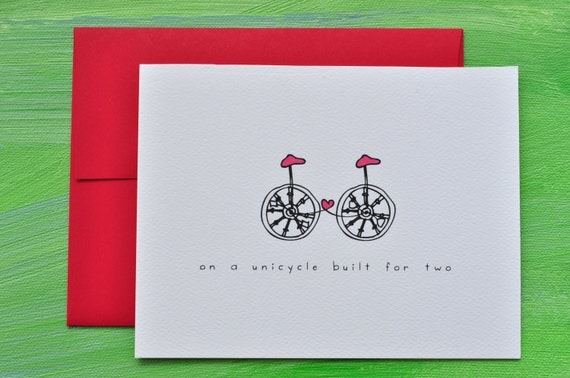 Unicycle Built for Two I Love You Happy Anniversary Congratulations Wedding Card