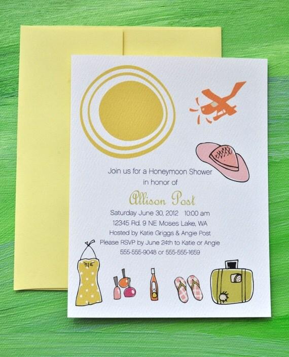 Honeymoon Bridal Shower Custom Invitation Set with Stickers