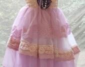 Lavender lace tiered   slip  dress rose dolly romantic  boho medium   handmade by vintage opulence on Etsy