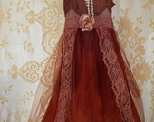 Rust orange maroon pumpkin spice fall silk lace tulle slip dress rose dolly  medium victorian gothic  by vintage opulence on Etsy