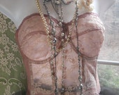 Pink lace bustier  vintage  boned lace  38C  from vintage opulence on Etsy