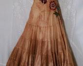 Maxi prairie dress tea stained  beige boho  lace applique  romantic medium   by vintage opulence on Etsy