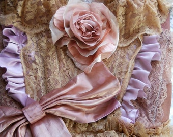 Tea stained dusty rose  lace ruffled  bustier  victoriana romantic custom by vintage opulence on Etsy