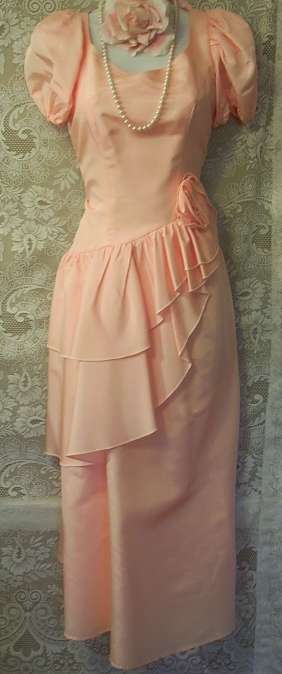 Peach taffeta ruffle rose vintage prom cocktail wedding dress M
