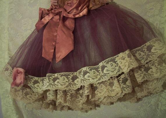 Mauve purple lace and tulle petticoat tutu rose medium (reserved for camh1115)