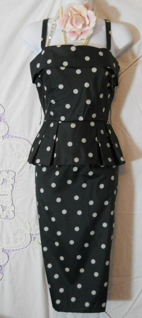 polka dot  dress black white peplum wiggle vintage small by vintage opulence on Etsy