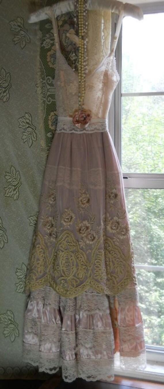 Pink embroidered dress cream silk lace slip rose for Vintage sites like etsy