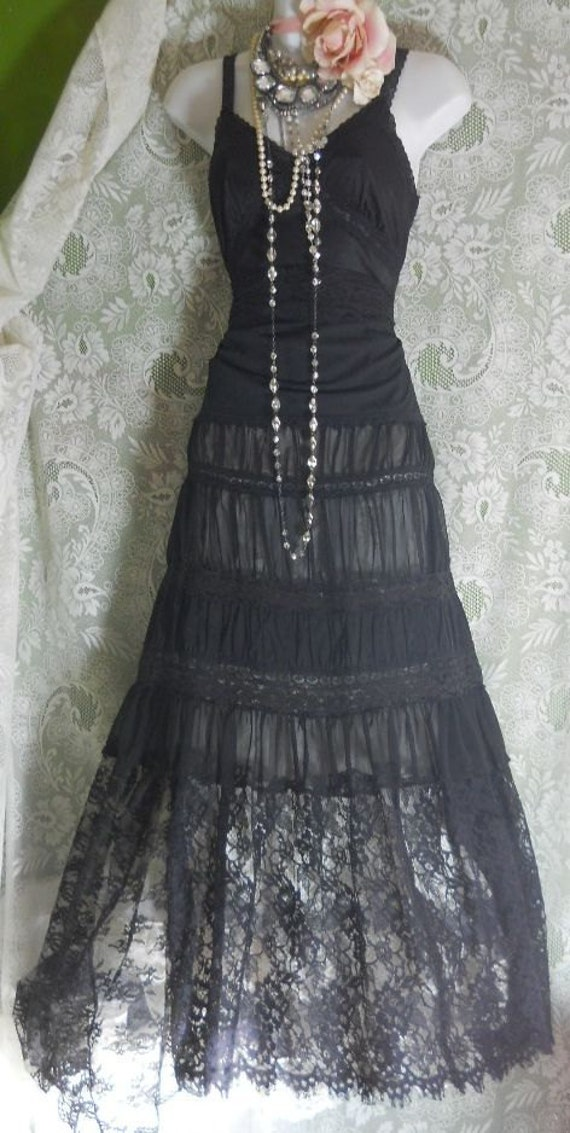 Black lace dress sheer maxi romantic boho hippie medium by  vintage opulence on Etsy