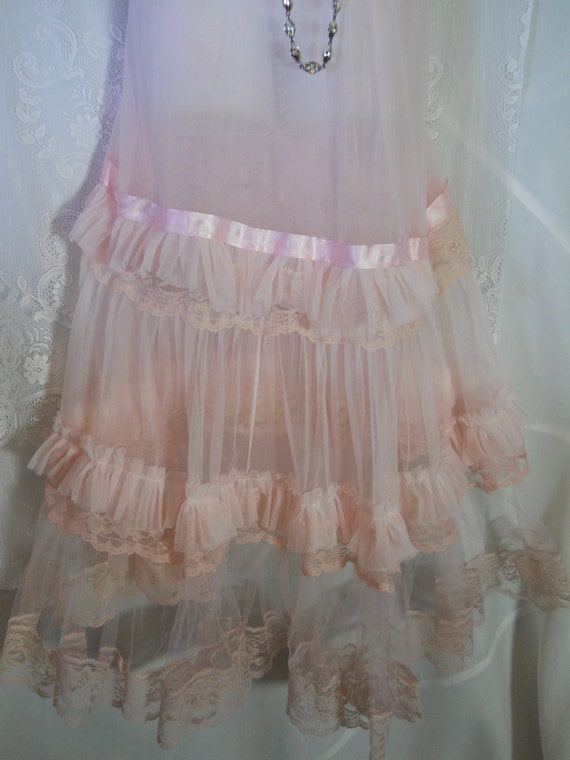 Pink ruffle dress sheer maxi boho tulle lace fairytale  romantic medium   by vintage opulence on Etsy