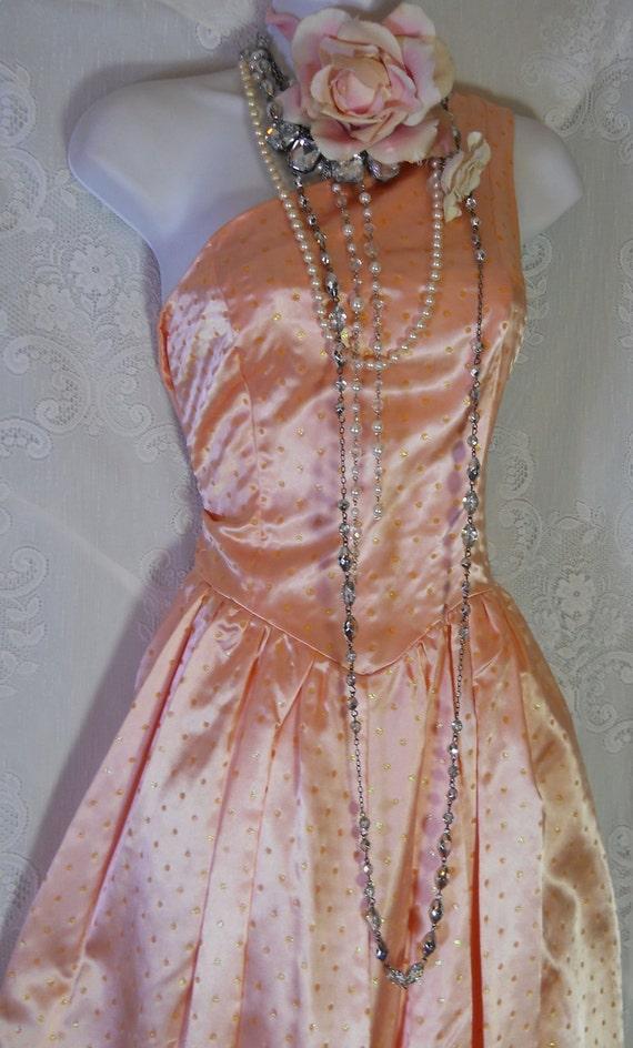 Peach satin dress polka dot vintage  cocktail part ,prom ,bubble,one shoulder, dress, Medium,