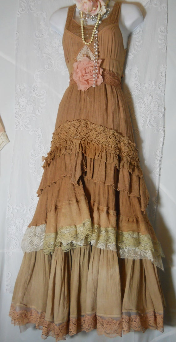 Boho Prairie Dress Beige Tea Stained Tiered By Vintageopulence