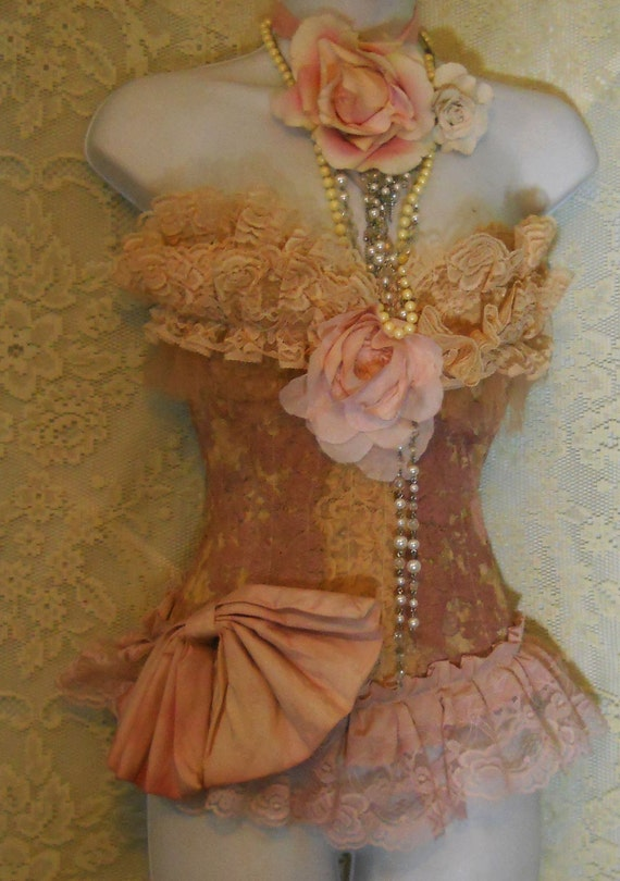 Vintage lace bustier tea stained   rose bow  corset   victoriana romantic shabby   34 D by vintage opulence on Etsy