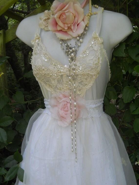 Lace wedding dress cotton satin white cream prom fairytale rose  vintage   romantic medium by vintage opulence on Etsy