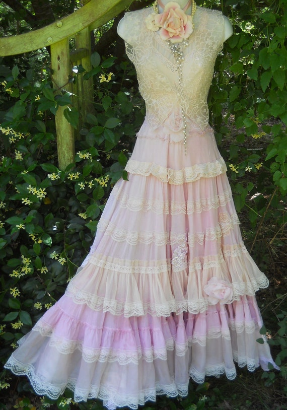 Pink Ruffle Dress Boho Maxi Ruffles Romantic Lace Roses