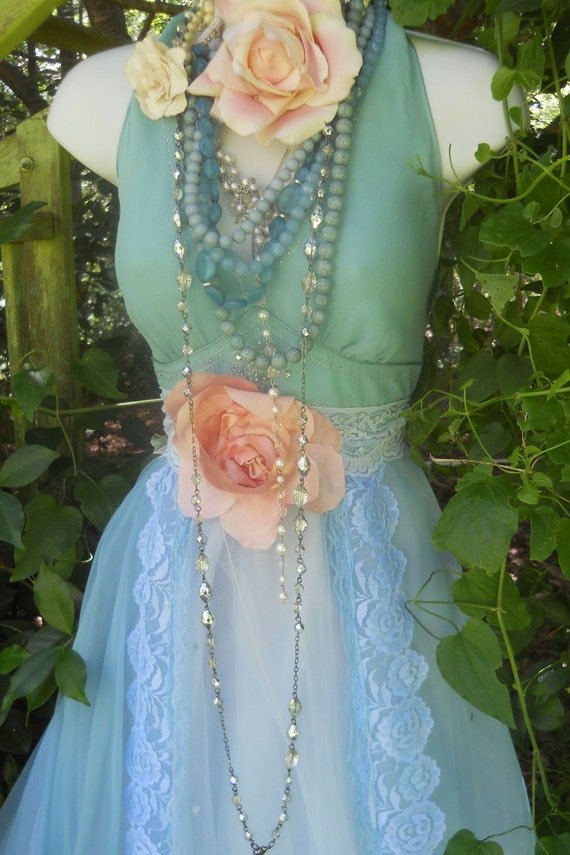 Blue lace dress mint tulle halter sparkle gypsy bohemian rose  romantic medium  by vintage opulence on Etsy