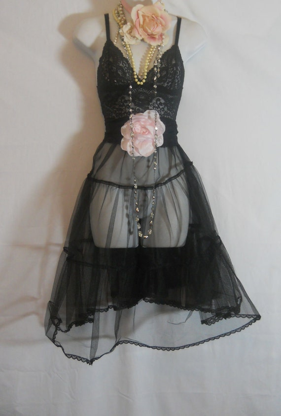 Black lace dress  sheer babydoll rose  goth  small  medium  by vintage opulence on Etsy