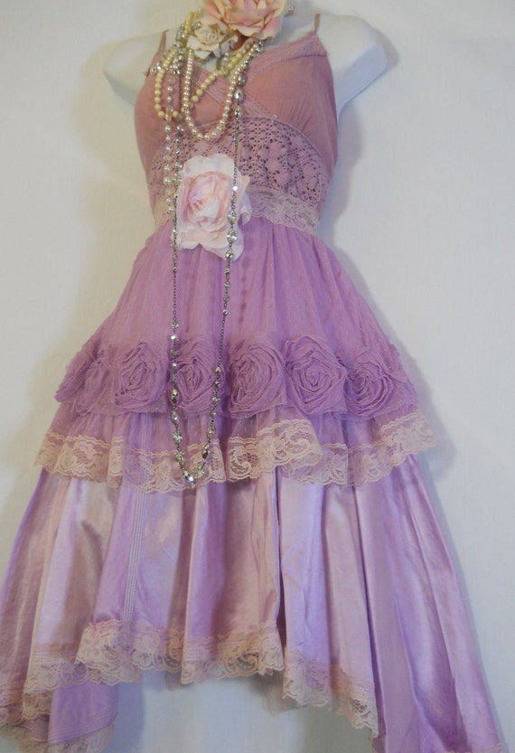 Lavender roses dress silk  lace gypsy boho rose  romantic medium  by vintage opulence on Etsy