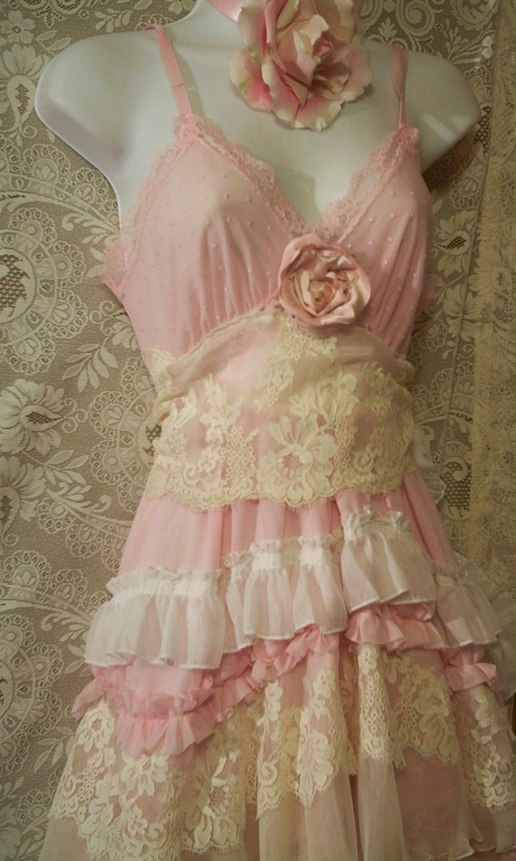 Baby Pink Ruffled Lacey Huge Puffy Tiered Dress By
