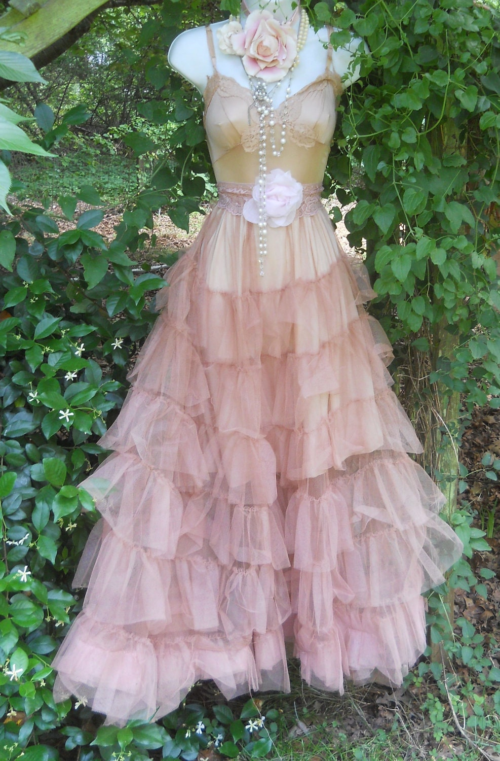 Ruffle tulle dress tea stained wedding crinoline vintage for Pink ruffle wedding dress