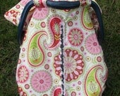 Unique Fitted Carseat canopy   Michael Millers Paisley and Pink Dimple Dot Minky.