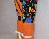 Personalized rocket fabric on orange Hooded Bath Towel