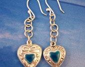 Sterling Enamel Heart Earrings