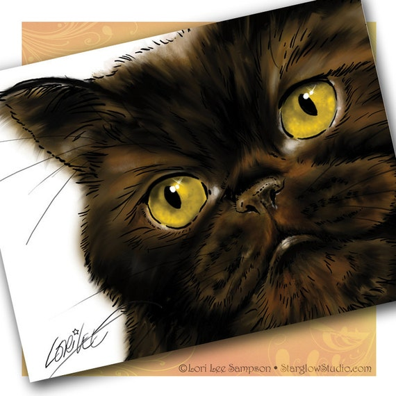 2 Black Cat Art Blank Note Cards Set from Persian Cat Painting, Animal Stationery, Blank Notecards, Party Invitations