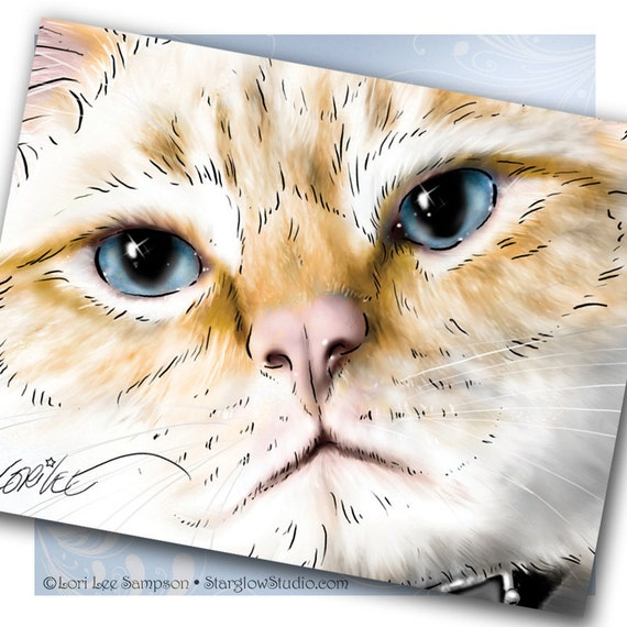 3 Lynx Point Siamese Cat Art Notecards - Tabby Cat Blank Note Cards, Cat Greeting Cards