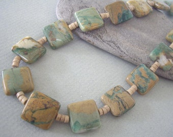 Greenline Jasper and Riverstone Necklace