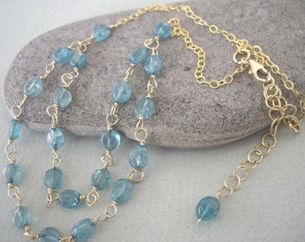 Wire Wrapped Teal Apatite Nuggets