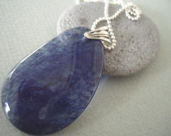 Blueberry Quartz Pear Pendant with Sterling Silver Bead Chain