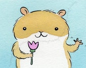 Friendly Waving Hamster with a Pink Flower  - Original Watercolour