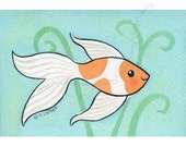 Original Aceo Watercolor - Goldfish Orange and White