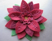 Holiday Weekend SALE - Two-Toned Red and Burgundy Pointsettia Flower - felt pin