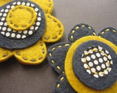 Charcoal and Mustard Posey Duet - felt MAGNETS