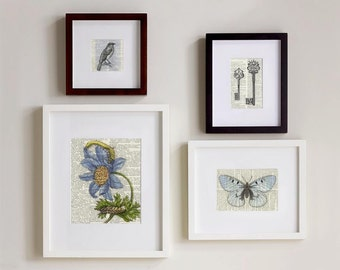 Set of Four Prints - black and blues