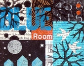 Original MixedMedia Abstract Collage - Blue Room