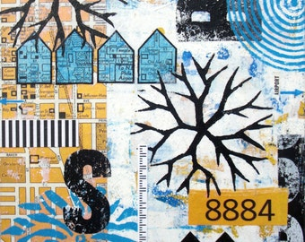 Original Mixed Media Abstract Collage Art - Anywhere but North