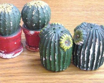 Vintage Chalkware Cactus Salt and Pepper Shakers