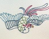 hand-sewn bird card