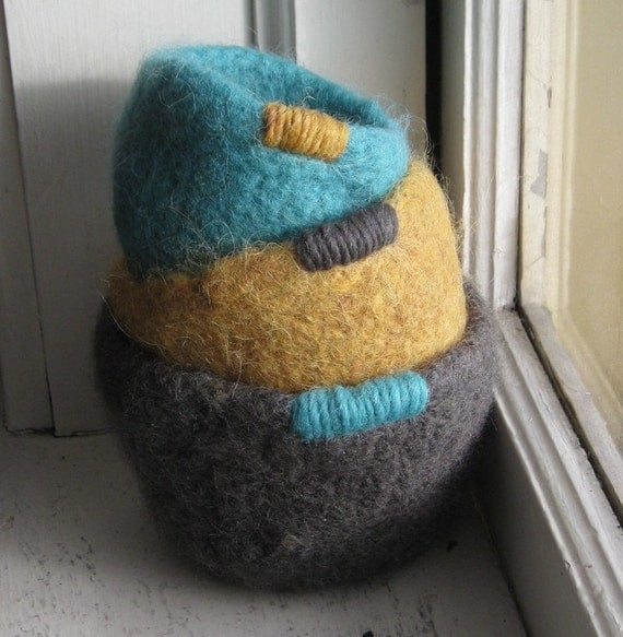 Teal and Gold Nesting Bowls