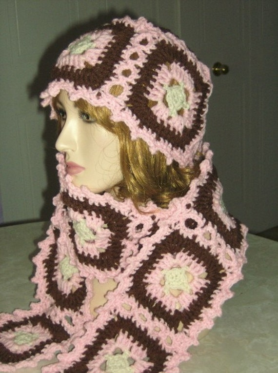 Granny Square Hat Scarf and Poncho Crochet Pattern by Rhelena